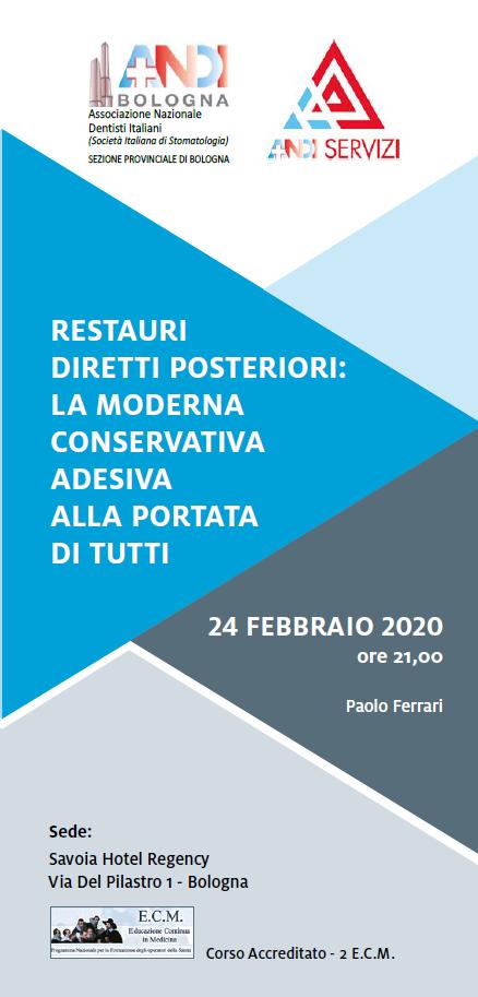 24 FEBBRAIO 2020: Restauri diretti posteriori: la moderna conservativa adesiva alla portata di tutti (POSTI ESAURITI)