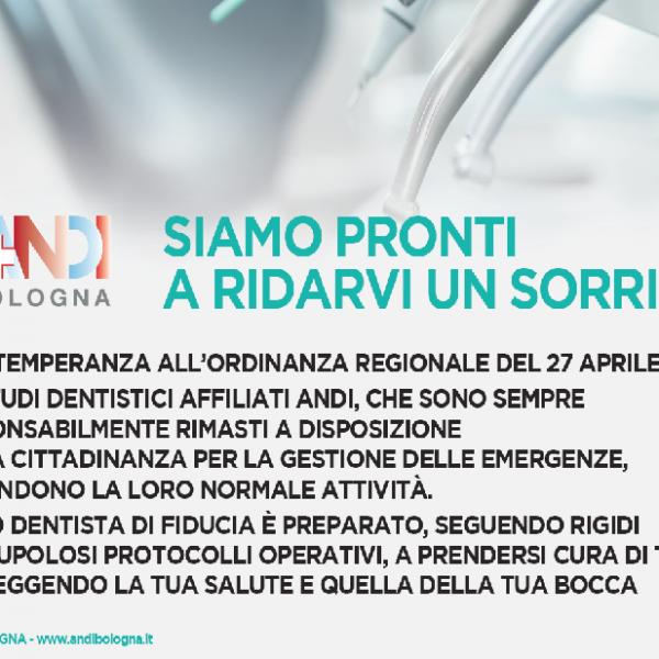 La campagna informativa di Andi Bologna per la riapertura degli studi odontoiatrici